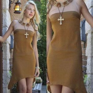 Urban Outfitters 90s Retro Brown High Low Dress S